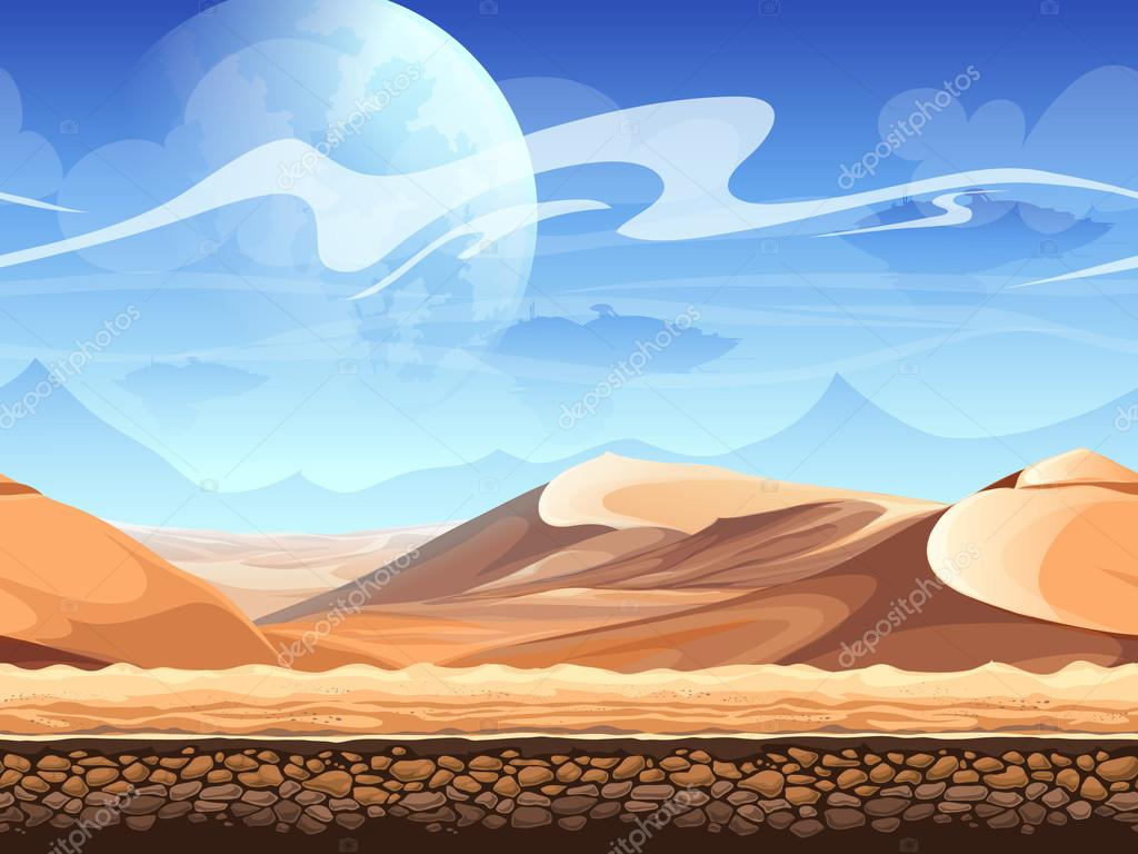 Seamless desert with silhouettes of spaceships