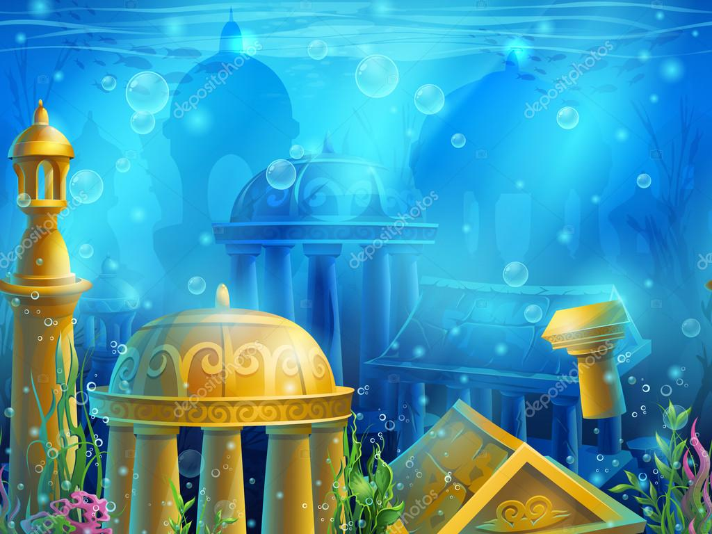 Atlantis. Seamless submerged underwater city, the gold ancient