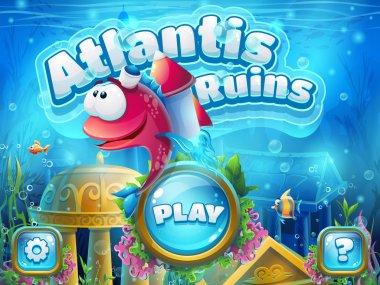 Atlantis ruins with fish rocket - vector illustration boot scree