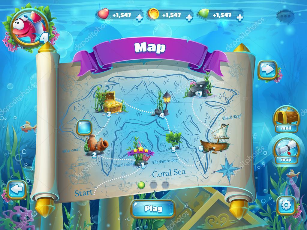 Atlantis ruins with fish rocket - level game map