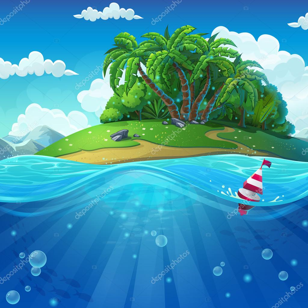 Float in the water at the island background