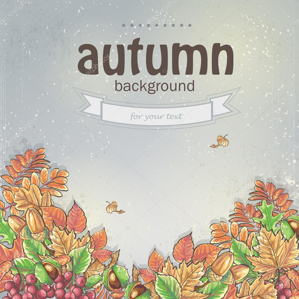 autumn leaves and berries of viburnum, acorns and chestnuts