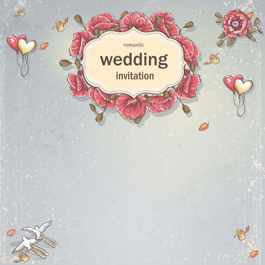 Wedding Invitation Card For Your Text On A Gray Background With Poppies Balloons Doves