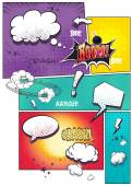 Photo Image comic book pages with different speech bubbles for text, as well as various sounds on a colored background
