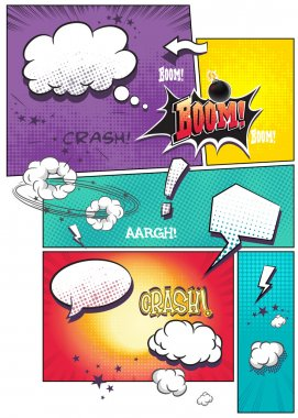 Image comic book pages with different speech bubbles for text, as well as various sounds on a colored background