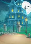 Fotografie Illustration eines Geisterhauses in einer mondhellen Nacht