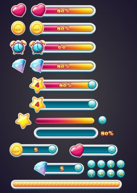 Game icons with progress bar, digging, as well as a progress bar download for computer games clip art vector