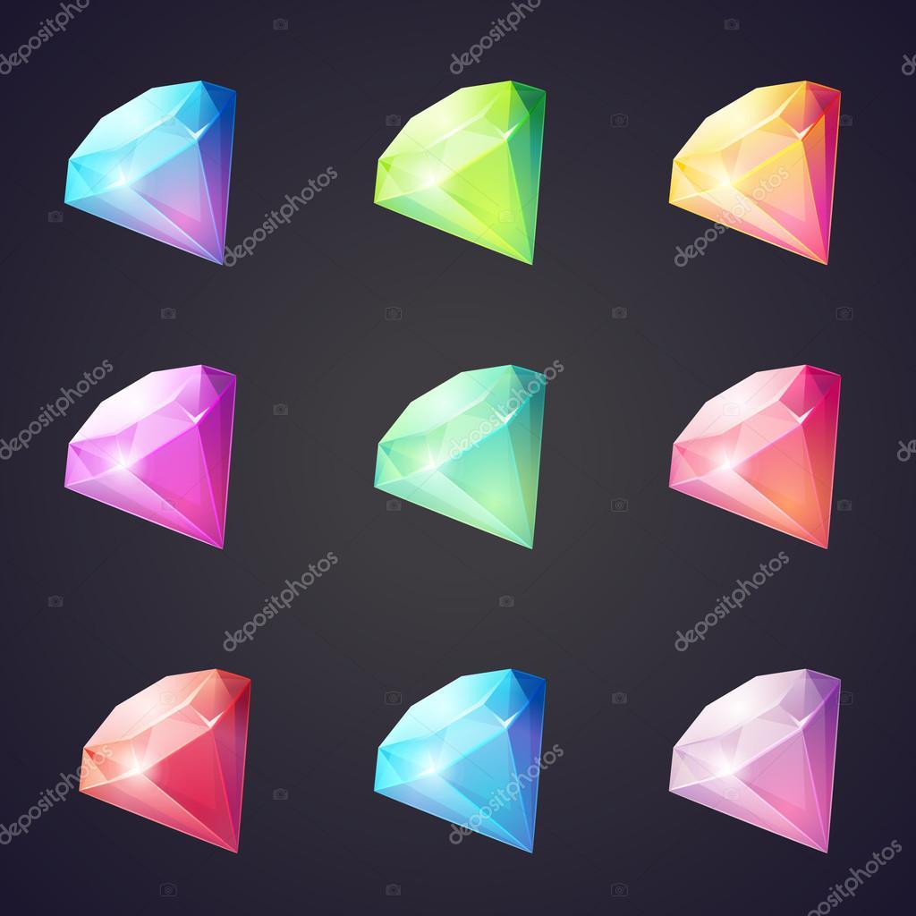 Cartoon-Bild Edelsteine und Diamanten in verschiedenen Farben auf ...