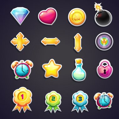 Set of cartoon icons for the user interface of computer games stock vector