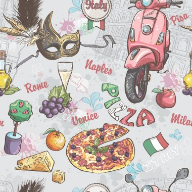 Seamless texture on italy. With a picture of food, fruit, wine, carnival masks and other