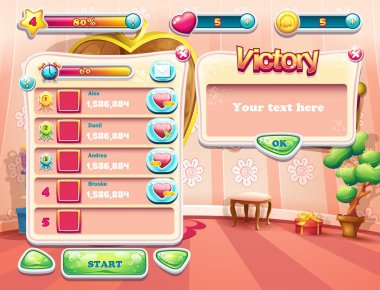 An example of one of the screens of the computer game with a loading background bedroom princess, user interface and various element. Set 3