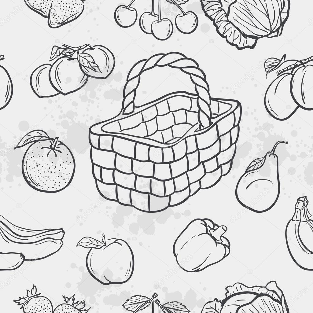 Seamless texture and vegetables, fruit and baskets.