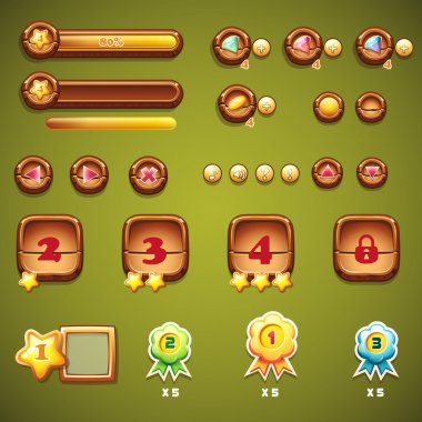 Set of wooden buttons, progress bars, and other elements for web design and user interface of computer games