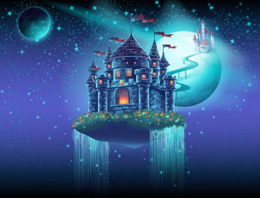 Illustration space castle with a waterfall on the background of the planet