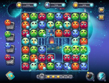 Illustration fabulous space with the image of the game screen with the interface of the game playing field with fun planets as well as the progress bar, bars objects, coins, crystals and various butto