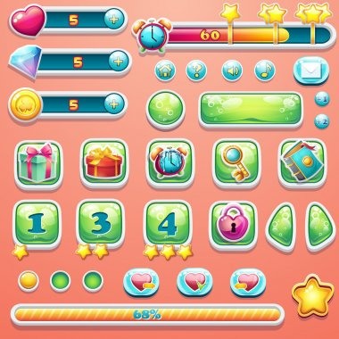 A large set of progress bars, buttons, boosters, icons for user interface design of computer games. clip art vector