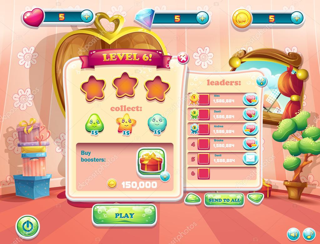 Example of user interface screens beginning of a new level of computer games