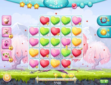 Example of the playing field and gather three in a row and the interface for a computer game on the theme of Valentine's Day clip art vector