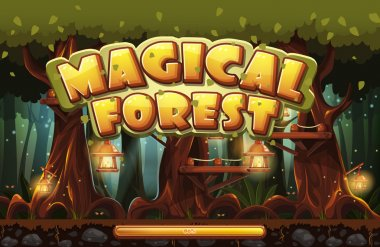 Boot screen to the computer game magic forest stock vector