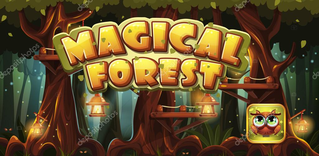 Set banner and icon for the computer game magic forest