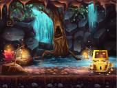 Fantazie jeskyně s vodopádem, strom, truhla s pokladem