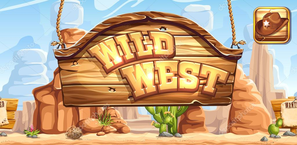 Horizontal banner and icon for the game Wild West registration in social networks