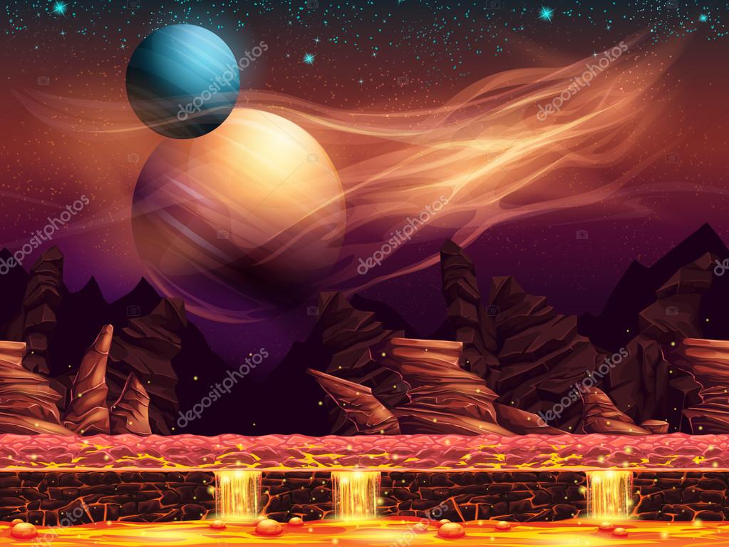 Illustration of a fantastic landscape - the red planets