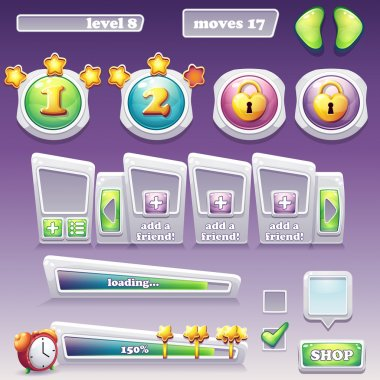 Big set of elements for computer games and web design. Progress bar, buttons and more clip art vector