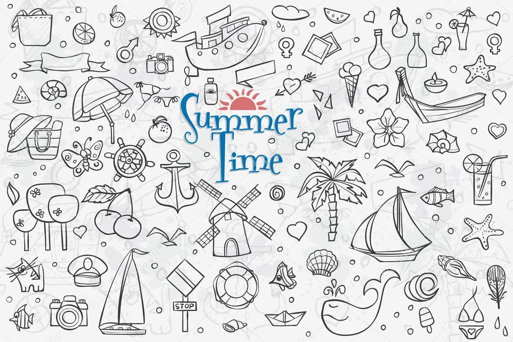 a large set of outline drawings on the theme summer summer dood
