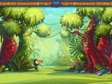 Illustration of a toucan jungle and Mayan writing