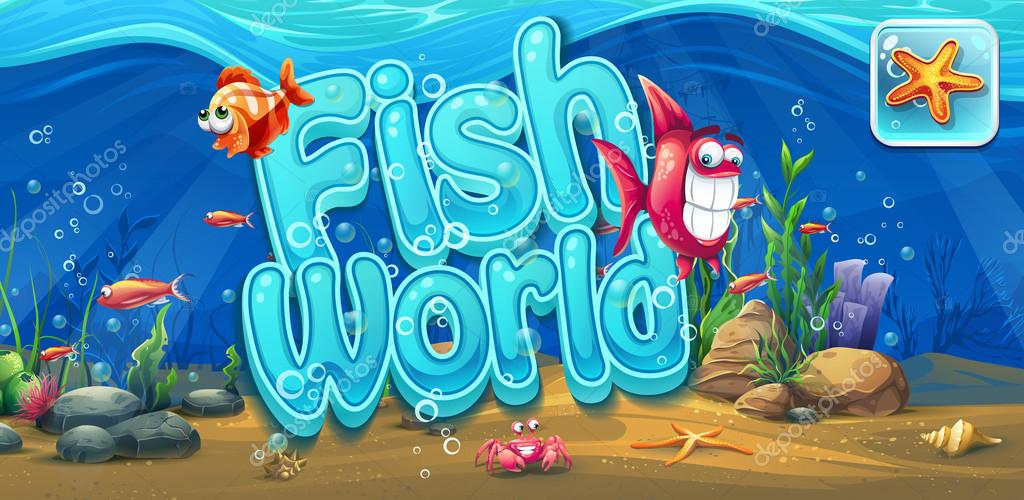 Fish world - horizontal banner, icon to the computer game