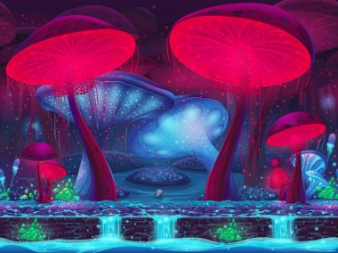 Magic Mushroom Hollow - mystical background (seamless)