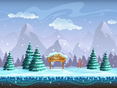 Seamless cartoon background with winter landscape sign and skiing