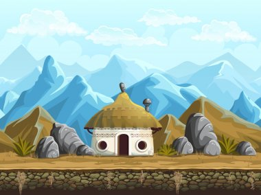 Seamless background of the hut in the mountains