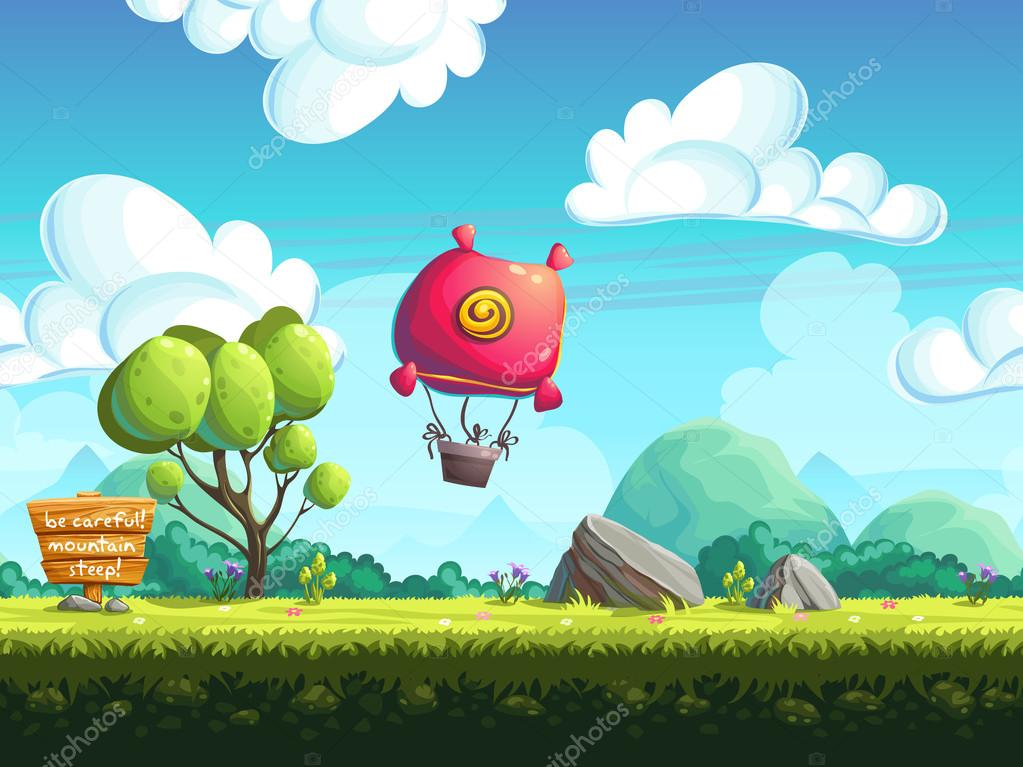 Seamless background blimp above the hills