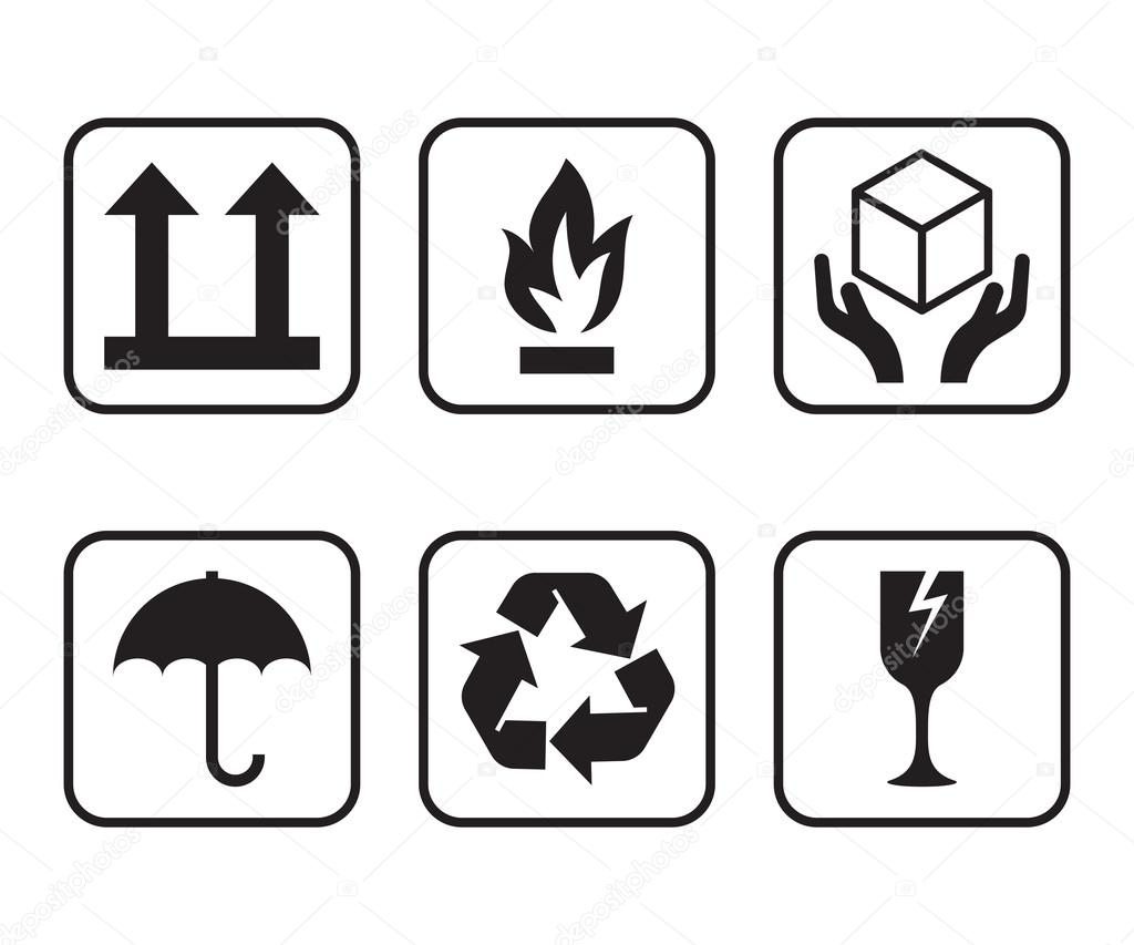 Vector set of symbols for packaging of cardboard boxes stock vector set of symbols for packaging of cardboard boxes stock vector buycottarizona