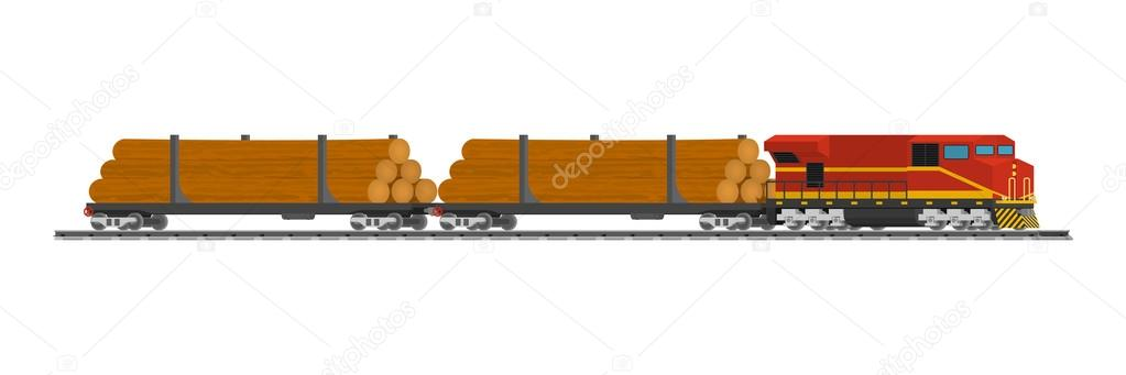 Rail trains cars of wood at the railway station