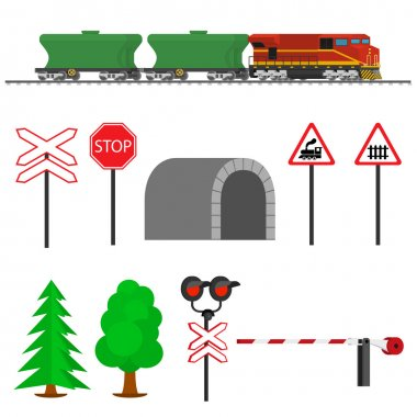 Railroad traffic way and train wagons for transportation of grain.