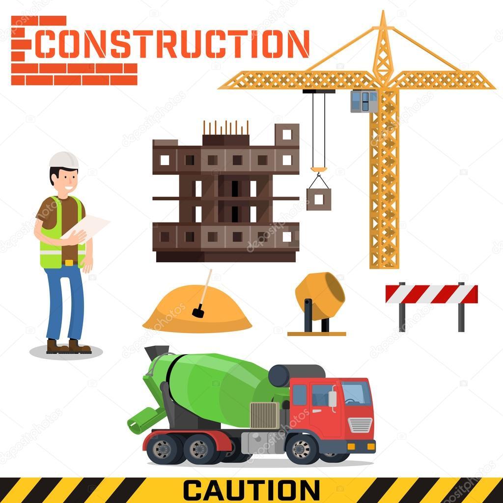 Haus bauen baustelle  Baustelle, wir bauen ein Haus - flache Vektor-illustration ...
