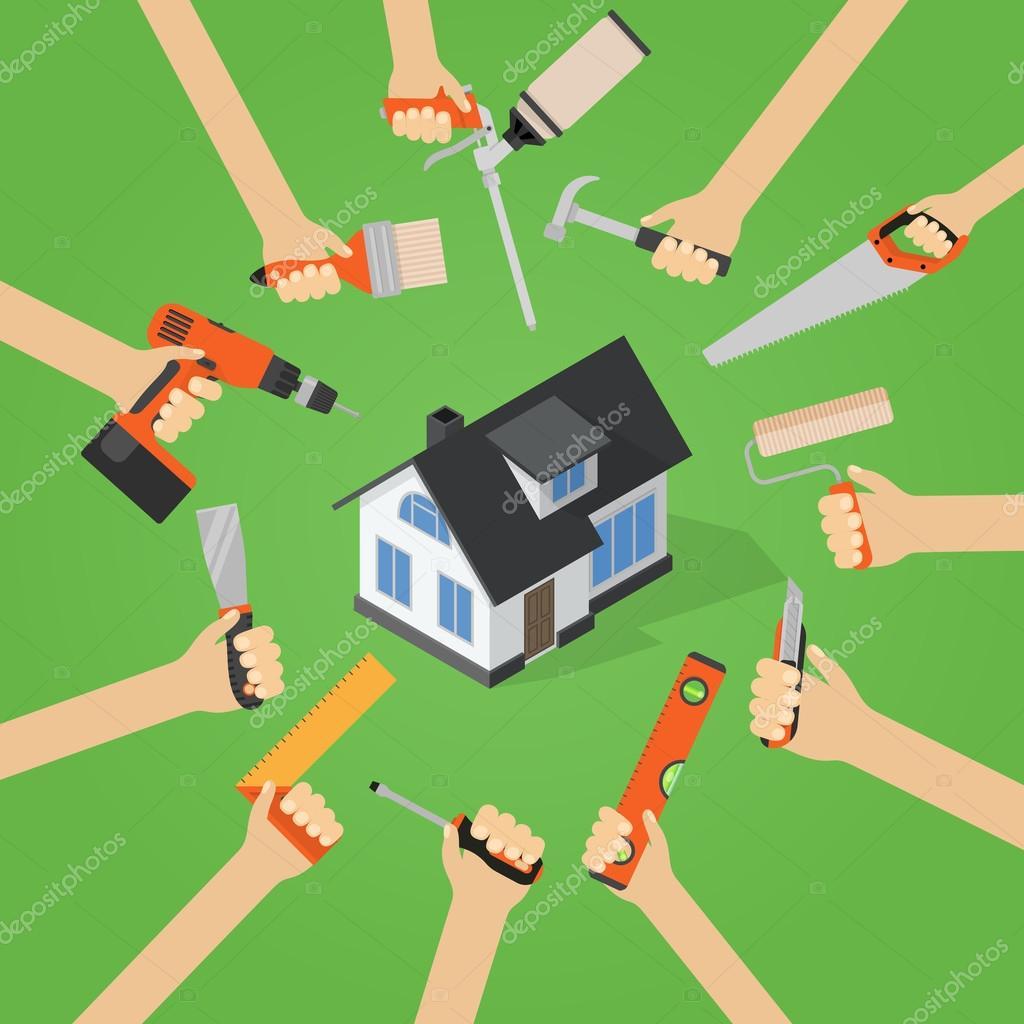 Hande Mit Hauptreparatur Diy Renovierung Hausarbeit Werkzeuge Flach