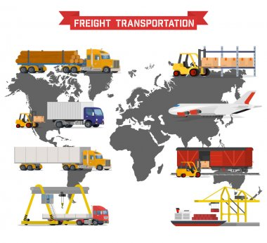 Vector set on worldwide shipping, heavy transport