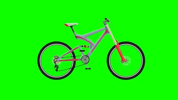 Šedé horské kolo na pozadí zelené obrazovky