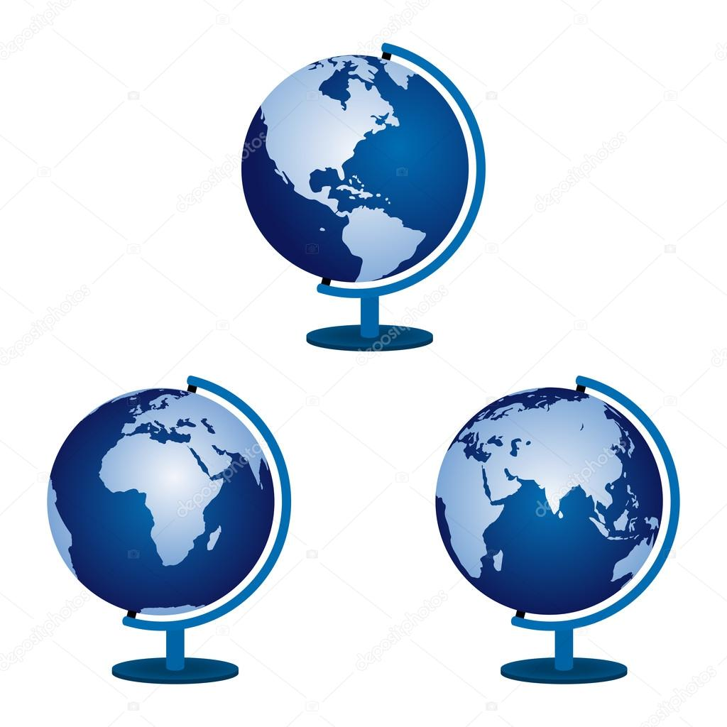 Three globe on a white background