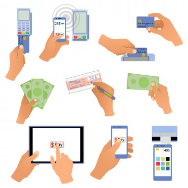 All for business payments human hands holding credit cards, POS terminal, redit cards and check, online payments, hand with money, wireless payment