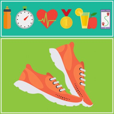 Jogging and running concept flat icons.