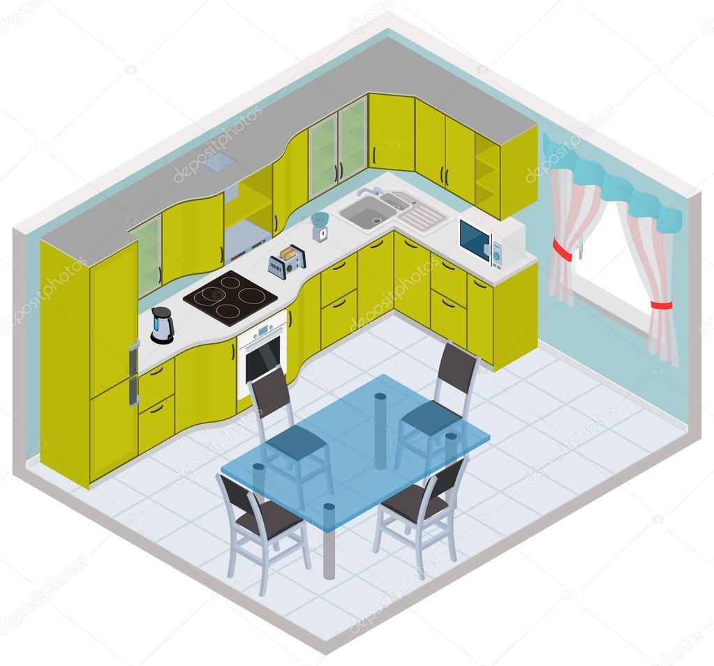 Vektor-isometrische Küche-Interieur — Stockvektor © ikuvshinov #71557031