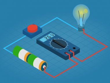 infographic of measurement multimeters voltage circuit from battery, buttons and lights