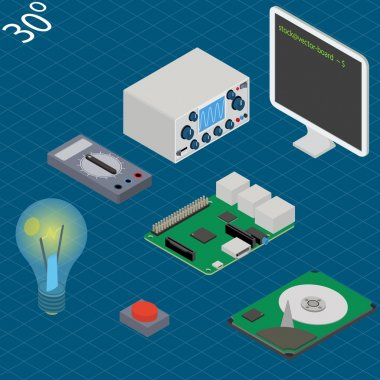 electronic research laboratory. Isometric illustration