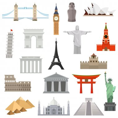 Countries of the world vector logo design template. architecture, monument or landmark icon.