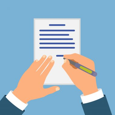 Colored Cartooned Hand Signing Contract Graphic Design on Blue Background.